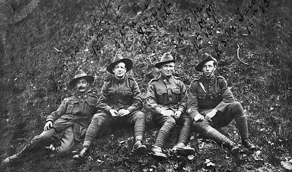 Sergeant Maurice Vincent Buckley VC DCM (second from left) relazes with some mates on the western front.