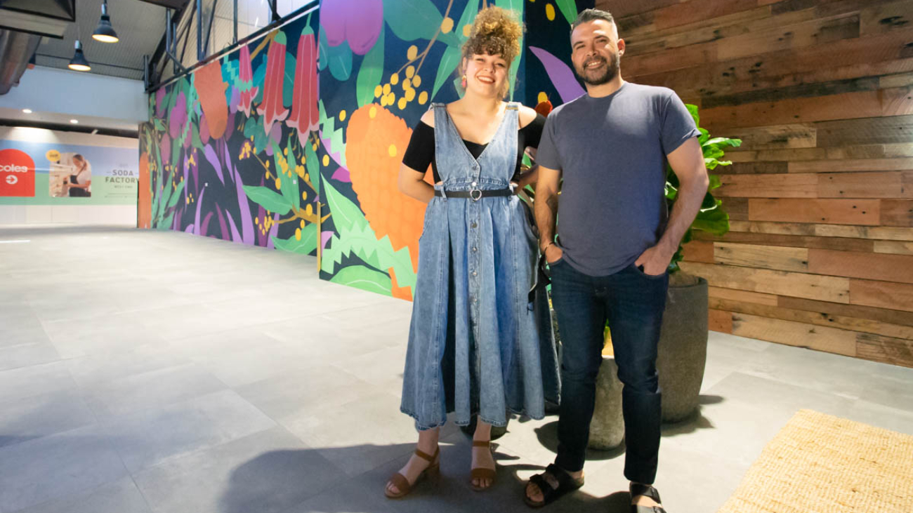 The mural was created and installed by Tori-Jay Mordey, and Warraba Weatheral.